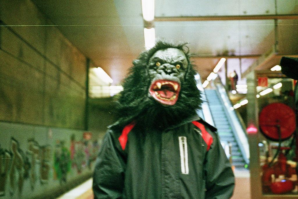 Gorilla in U Bahn Köln